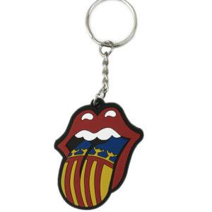 Llavero con la lengua de los Rolling Stones y la bandera o senyera valenciana